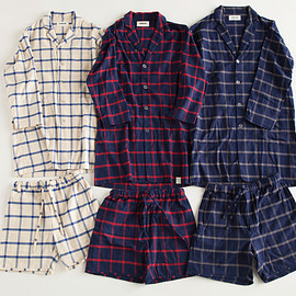 """NOWHAW - """"day long"""" pajama #white×blue / #navy×red / #navy×gray ウィンドウペンチェック/ パジャマ"""