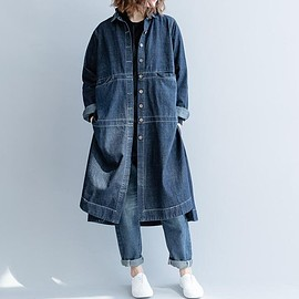 Casual long shirt - Casual long shirt, Loose Fitting Women's Blouses, denim gown, thin Trench Coat for Women