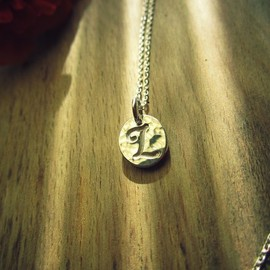 Lotus. - Initial Charm Necklace.