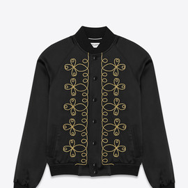 SAINT LAURENT - SS2015 EMBROIDERED TEDDY JACKET IN BLACK SATIN VISCOSE