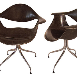 "George Nelson - ""DAF"" Swagged Leg Chairs in Black"