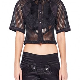 KTZ - Black Net Drop Shoulder Pocket Shirt