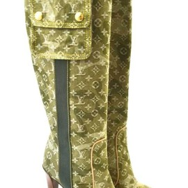 LOUIS VUITTON - Green Denim Monogramouflage Boots