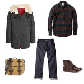 A.P.C. - apc jacket jeans carhartt filson bag red wing APC PARKA + JEANS CARHARTT SHIRT + FILSON BAG + RED WING BOOTS | MY WARDROBE 30% PROMOTIONAL CODE
