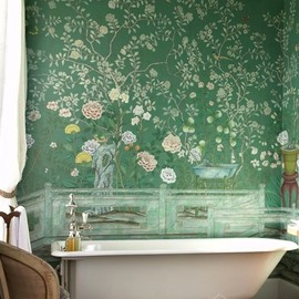 Beautiful green chinoiserie mural in a bathroom