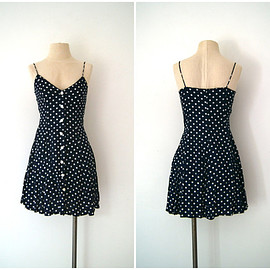 1990s mini dress // polka dot sundress 80s to 90s