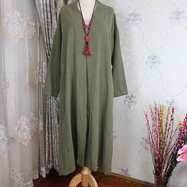linen Maxi Coat - Loose Fitting Women coat, linen Maxi Coat, army green linen Windbreaker
