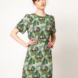 peter jensen - Straight Dress in Lodge Print