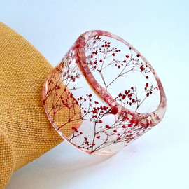 SpottedDogAsheville - Red Botanical Resin Bangle