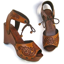 Clog Shoe Tooled Flower Bohemian Wedge Handmade by Karen Kell Collection Custom Order ALL SIZES available