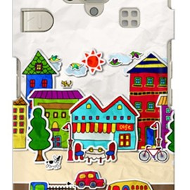 SECOND SKIN - uistore 「paper town」 / for シンプルスマホ 204SH/SoftBank