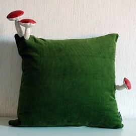 fungimaa - pillow with red mushrooms