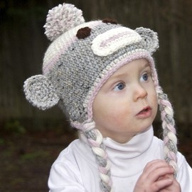 melanieganson - Sock Monkey Hat for Girls with bow and flower clips included