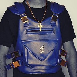 jahvan trois - champion vest pack blue leather vegan