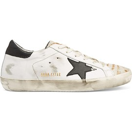 Golden Goose Deluxe Brand - Super Star distressed calf hair-paneled leather sneakers