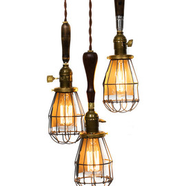 jankyardllighting - 3 Light Caged Vintage Handle Trouble Light Chandelier