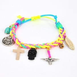 alanatt - Braided Rainbow Neon Color Woven Rope Bracelet with Pendants