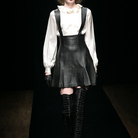 G.V.G.V. - LEATHER SUSPENDER SKIRT
