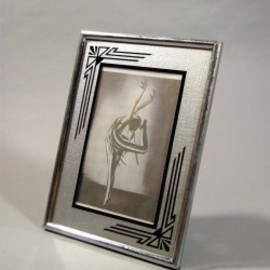 """1930's Art Deco """"Reverse Painted"""" Glass Photo Frame【小】"""