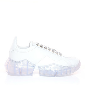 JIMMY CHOO - DIAMOND/F White Calf Leather with Patent Low Top Trainers