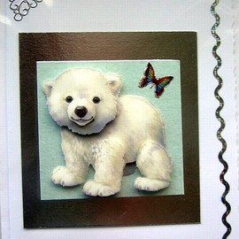 Luulla - Adorable Polar Bear Cub Hand-Crafted 3D Decoupage Card - Blank for any Occasion (1429)