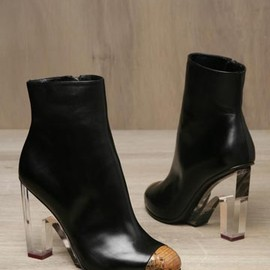 DRIES VAN NOTEN - WOMEN'S SNAKESKIN TOE AND PERSPEX HEEL LEATHER BOOTS