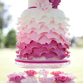 Ombre cake with cupcakes