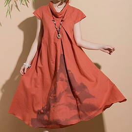 Maxi Dress - Ethnic style orange linen dyeing short sleeve dress / casual dress long section Maxi Dress