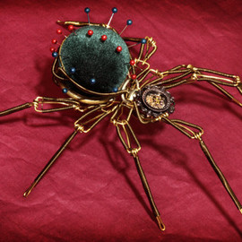 Steampunk Sclpture - Pin Cushion Spider - Christmas Nightmare - RESERVED