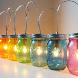 BootsNGus - Rainbow PARTY LIGHTS - Mason Jar Banner Lighting Fixture with 8 jars - Upcycled Rustic Wedding Holiday string of Lights - BootsNGus lamps