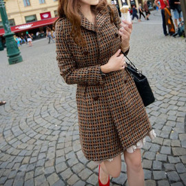 fashion - Image of [grxjy560568]Classical Retro Plaid Double Breast Worsted Coat