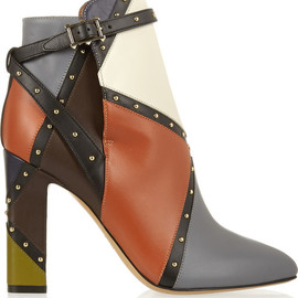 VALENTINO - FW2014 Studded color-block leather ankle boots