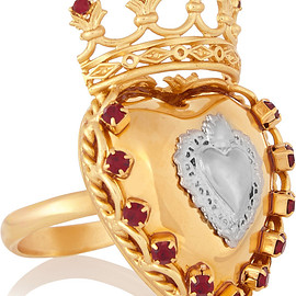 DOLCE&GABBANA - SS2015 Sacro Cuore gold and silver-plated Swarovski crystal ring