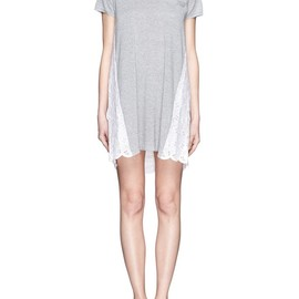 sacai luck - Floral lace back short-sleeve knit dress