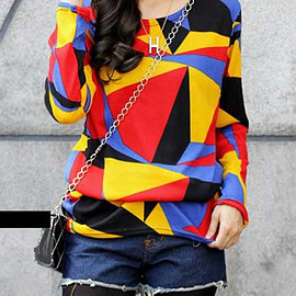 Patchwork Long Sleeve T-shirt pictures