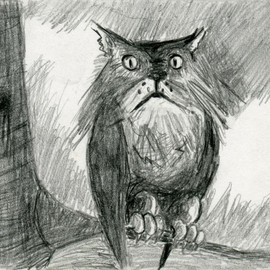 Luulla - Owl Cat Pencil Drawing Black and White Print - Hybrid Animals Series Owlcat