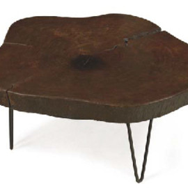 LE CORBUSIER  AND PIERRE JEANNERET  - AN INDIAN ROSEWOOD, WROUGHT-IRON AND IRON LOW TABLE, CIRCA 1960