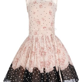 RED VALENTINO - Sleeveless dress in stretch silk georgette printed with roses and polka dot