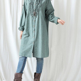 long shirt - Women autumn long dress/ babydoll long shirt/ Women cotton gown