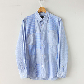 COMME des GARCONS HOMME|MEN - Cotton Poplin Stripe MIX Shirt #blue/white
