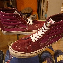 "vans - 「<used>90's vans SK8 HI burgundy""made in USA"" size:US9/h 13800yen」完売"