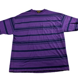 Eddie Bauer - Vintage 90s Eddie Bauer Striped Shirt in Purple/Navy Made in USA Mens Size 2XL