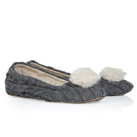 UGG AUSTRALIA - Heather Grey Nightengale Cable Knit Ballerinas