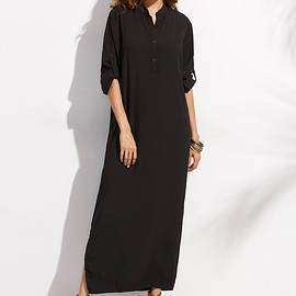 Romwe - Black Button Front Roll Sleeve Maxi Shirt Dress
