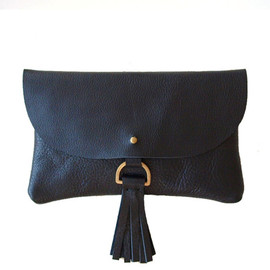 Kertis - Black Leather Wallet Clutch - タッセル付き黒レザーのウォレット型クラッチ