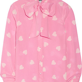 MOSCHINO - Pussy-bow printed silk crepe de chine blouse