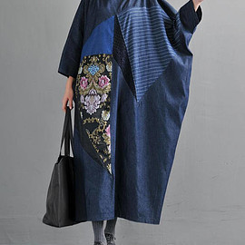 Cowboy long dress - Womens Oversized Cowboy long dress Large size Cowboy robe