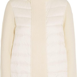 Moncler - Maglione quilted shell and ribbed wool jacket