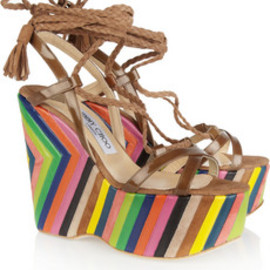 JIMMY CHOO - Pearl striped leather and suede platform wedges