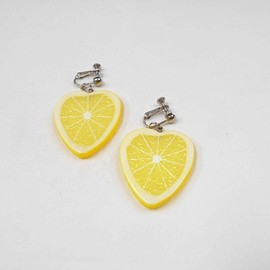 Fake Food Japan - Tranche de citron (en Forme de Cœur) Boucles d'oreilles